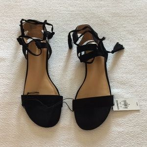 Express black suede lace-up sandals size 8
